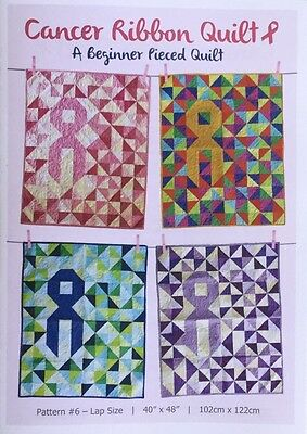 Cancer Ribbon Quilt Pattern, Lap Size, Easy Instructions