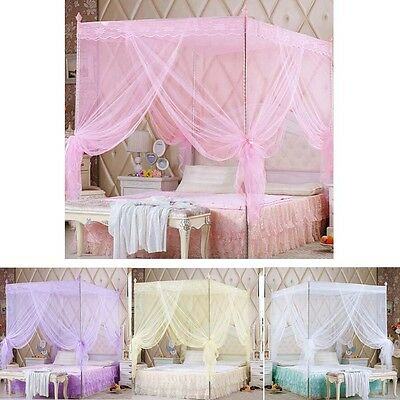 Princess Four Corner Post Bed Canopy Mosquito Netting Canopies Or Frame(Post)