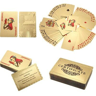 JEU DE 54 CARTES Poker en OR 24 Carat Gold Card 24 k Collection + certificat