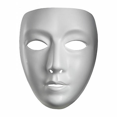Adult's Plain White Blank Female Fancy Dress Party Costume Accessory Mask