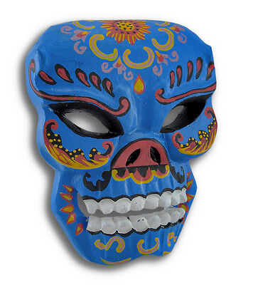 Blue Hand Crafted Day of the Dead Sugar Skull Wall Mask