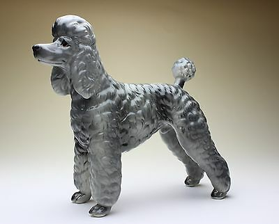 Silver Poodle Show Clip Groomed Furry Dog Porcelain Figurine Statue NEW Japan