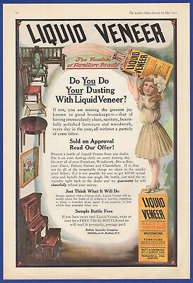 Orig Vintage 1910 LIQUID VENEER Furniture Polish Buffalo NY RARE Print Ad 1900's