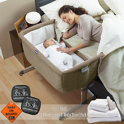 New Chicco Dove Grey Next 2 Me Side Sleeping Crib With Free Sheets & Accessories