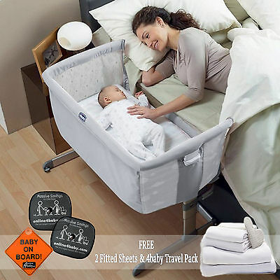 New Chicco Circles Next 2 Me Side Sleeping Crib With Free Sheets & Accessories