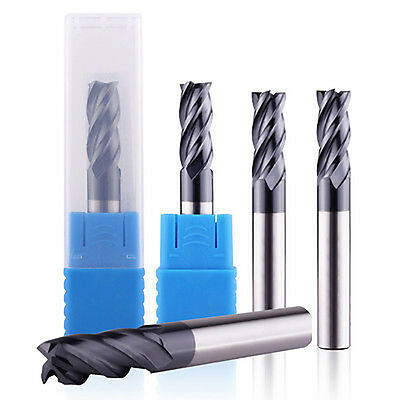 5 Pcs 4 Flute 3/8 End Mill Solid Carbide Tialn Coated X 1 X 2-1/2 Cnc Bit