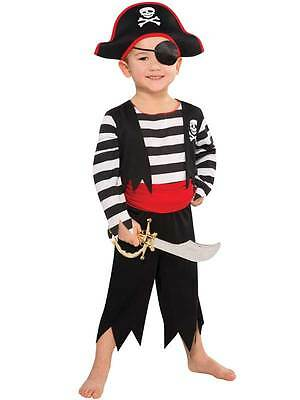 Pirate Caribbean Fancy Dress Costume Child Kids Boys Deckhand 3-4 Years New