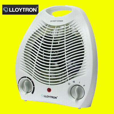 Lloytron F2001WH White Adjustable Thermostat Electric 2KW Upright Fan Heater New