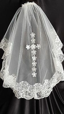 2 Tier Ivory Embroidered Lace Cross Wedding Veil Bridal Holy Communion Veil