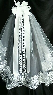 2 Tier White Embroidered Lace Wedding Veil Bridal Holy Communion Veil