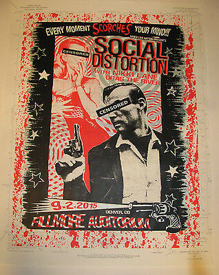 "SOCIAL DISTORTION 2015 Fillmore - Denver Rare ""Map"" Variant  Concert /Gig Poster"