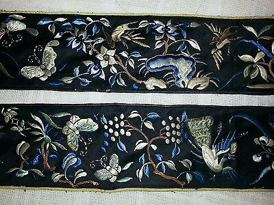Pair Antique Chinese embroidered sleeve panels black ground NICE