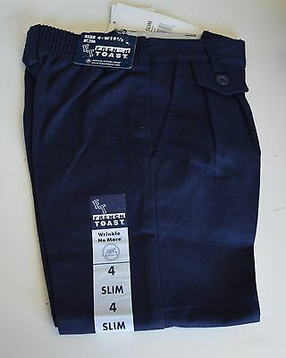 FRENCH TOAST Uniform Pants Slacks Khaki NAVY Blue SZ 6 - 18 Slim Girl Pleats