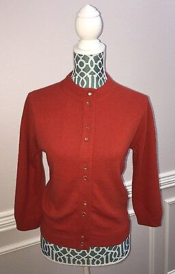 Vintage Lofties Women's Wool Cardigan Sweater Orange Small Medium S M