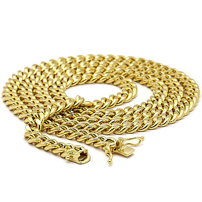 """Mens 14K Gold Plated 6mm 24"""" 30"""" Heavy Thick Double Clip Cuban Necklace Chain"""
