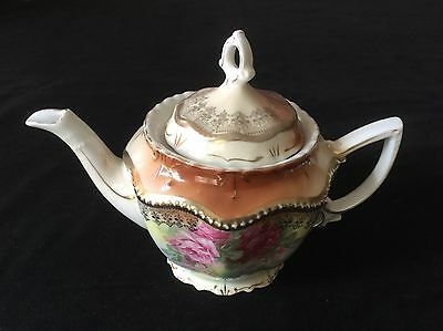 Tea Pot Hand Painted Porcelain With Pink Roses.                           #2484
