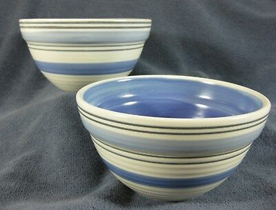 Pfaltzgraff Rio Soup Cereal Bowls Lot of 2 Blue Bands Stoneware