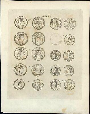 ancient Coins of Malta 1817 scarce & charming antique Numismatic print