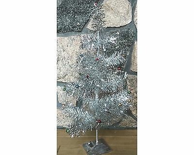 Vintage Tabletop Silver Tinsel Aluminum Christmas Tree