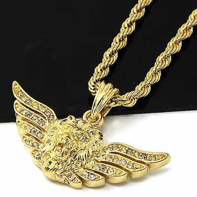 Mens 14k Yellow Gold Plated 24in Iced Out Long Wing Lion Rope Chain Necklace