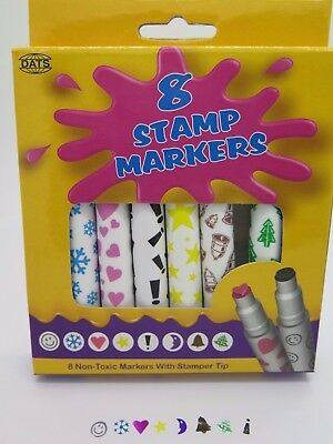Dats Stamp Markers 8 Pack Assorted Designs & Colours 2124