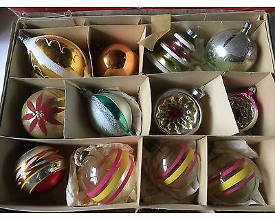 Vintage Box Figural Handpainted Indents 12 Mercury Glass Christmas Ornaments