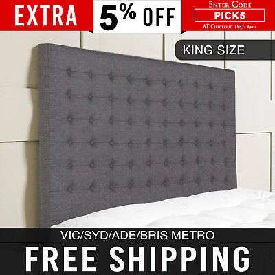 Bed Headboard Linen Charcoal Winged Metal Studded Buttons Wood Legs Queen Milano