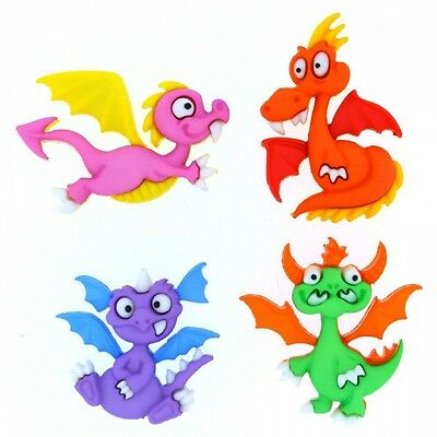 4 Cute Dragon Dress It Up Novelty Craft Buttons Embellishments