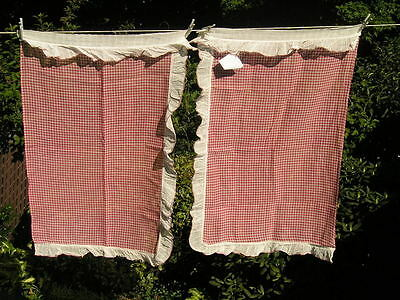 Vintage Pair~Red~White Check Curtains 1950s Whispy Cottage Sweet