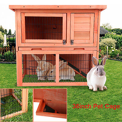 Outdoor Rabbit Hutch And Run Wooden Guinea Pig Bunny Pet House Garden Cage 36""
