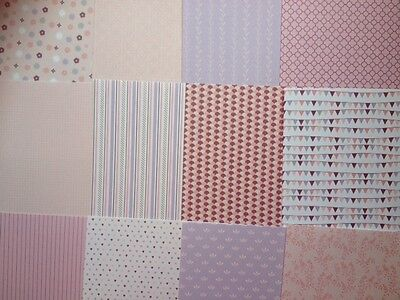 12 SHEET 8 x 8 PRETTY IN PINK TASTER SAMPLE PACK CARD MAKING CRAFT BACKING PAPER