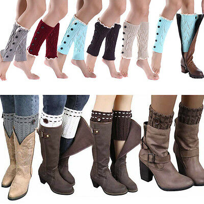 Women Ladies Girls Leg Warmers Winter Warm Knit Knitted Toppers Boot Cover Socks