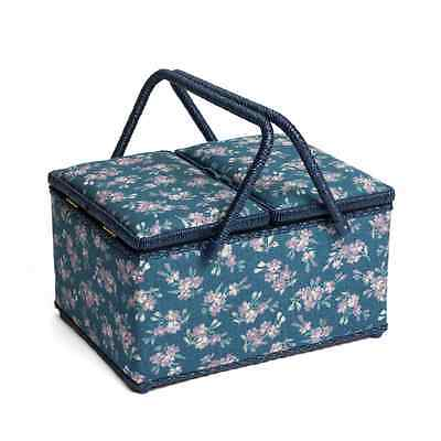 Chambray Rose Denim Classic Twin Lid Large Sewing Basket Craft