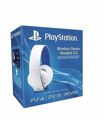 SONY Playstation Wireless Stereo Headset Headphones 2.0 PS3 PS4 VITA White - NEW