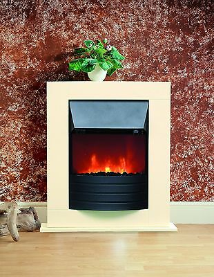 Cream Electric Fireplace Fire Heater Surround And Hearth Ideal For Smaller Rooms