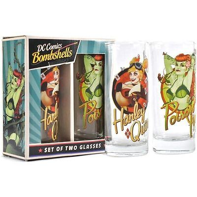 DC Comics Bombshells Set of Two Glasses Harley Quinn and Poison Ivy