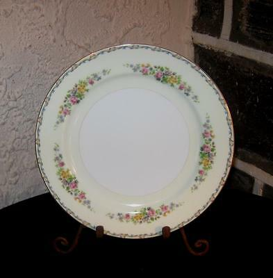 Imperial china Japan IMP8 Blue & Yellow scroll edge floral dinner plates 9 7/8