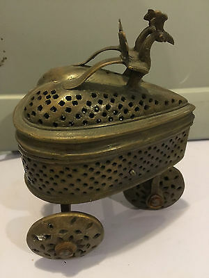Reliquary Antique Brass Religious Incense Trolley From Cathedral In Europe