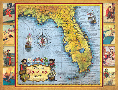 Florida Treasure Map Poster includes ship wreck sites