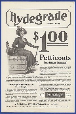 Orig. Antique Vintage 1910 HYDEGRADE Petticoats Women's Fashion Chicago Print Ad