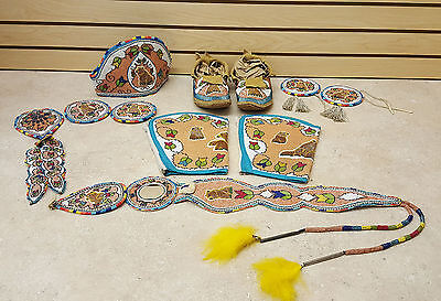 Nice 11 Pc.hand Crafted Cut Beaded Bear Design Native American Indian Dance Set!