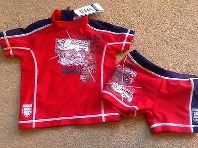 BNWT NEXT Red Blue England 2 Piece Sun Protection Suit Trunks UPF40+ 9-12 Months