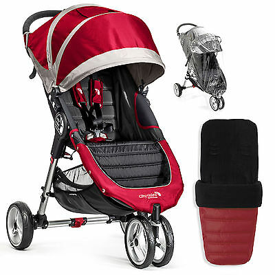 New Baby Jogger Crimson City Mini Stroller Pushchair With Footmuff & Raincover