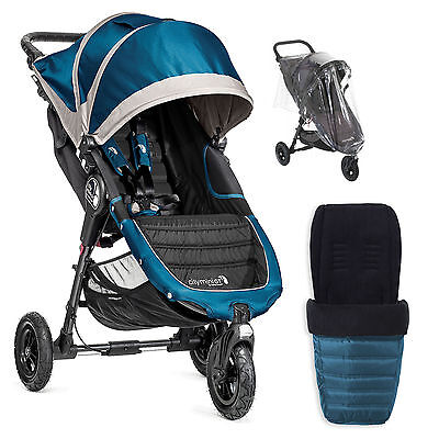 New Baby Jogger Teal City Mini G.t Stroller Pushchair With Footmuff & Raincover