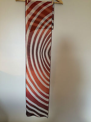 Vintage ANNE KLEIN Crepe Scarf Abstract Sahara Inspired Stripes Rust Cream
