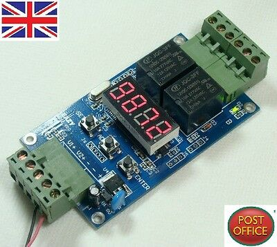 12V Dual Programmable Relay Control Cycle Delay Timer Timing clock Switch Module