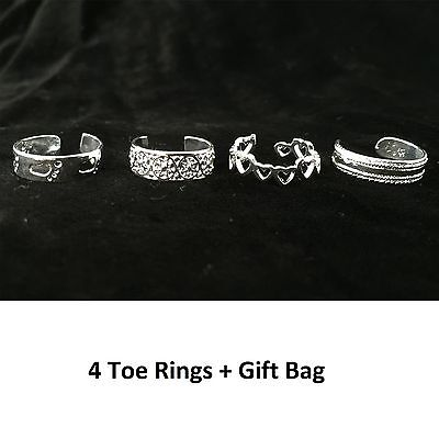 Set of Four Adjustable Silver Toe Rings Jewellery Accessory Foot Love Holiday