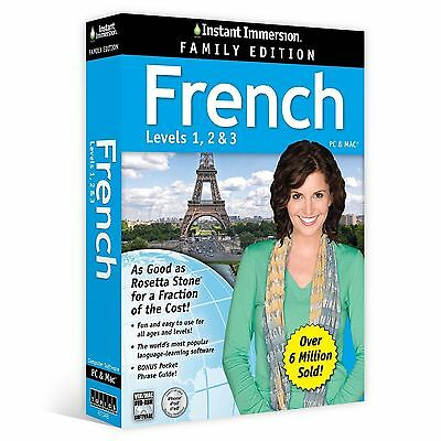 INSTANT IMMERSION French Language FAMILY EDITION Levels 1,2,3 NEW!!