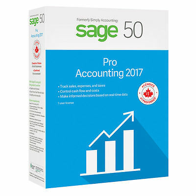 Sage 50 Pro Accounting 2017 1 User Canadian Edition, w/ Free Online Training NEW