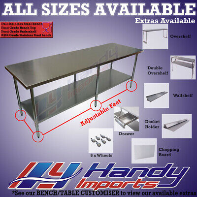 2134 x 610mm FULL #304 S/STEEL COMMERCIAL FOOD GRADE KITCHEN PREP BENCH TABLE